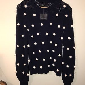 Forever 21 Sweaters - Forever 21 navy white Pom Pom sweater small